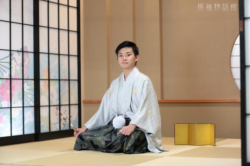振袖物語館松戸店の成人男性フォトプランの撮影です。